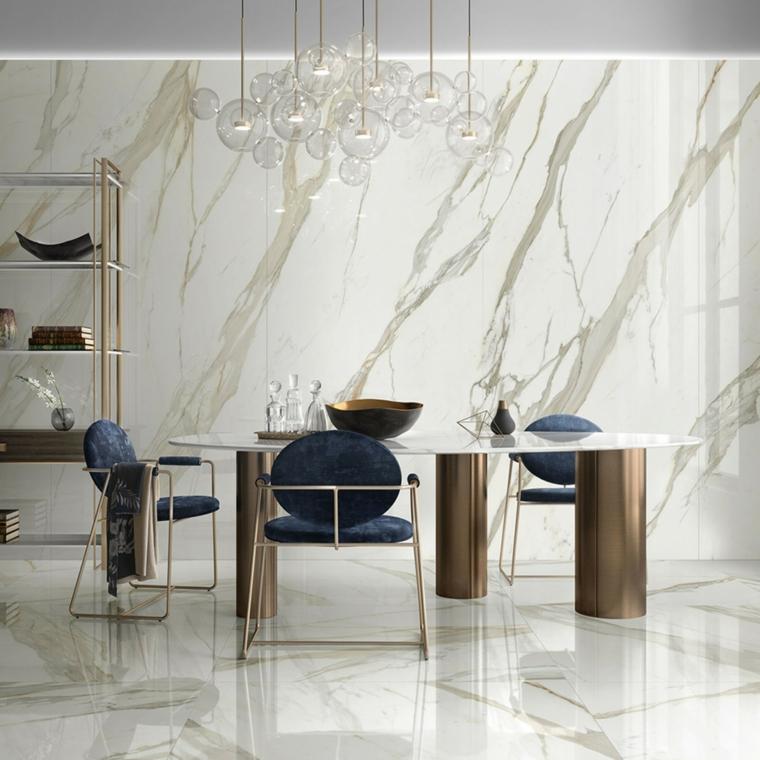 rivestimento pavimento pareti piastrelle in ceramica sala da pranzo tavolo sedie