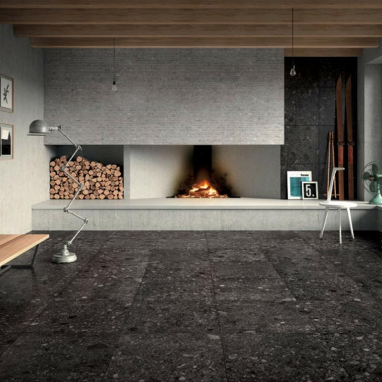 rivestimento pavimento piastrelle in ceramica colore grigio camino soggiorno