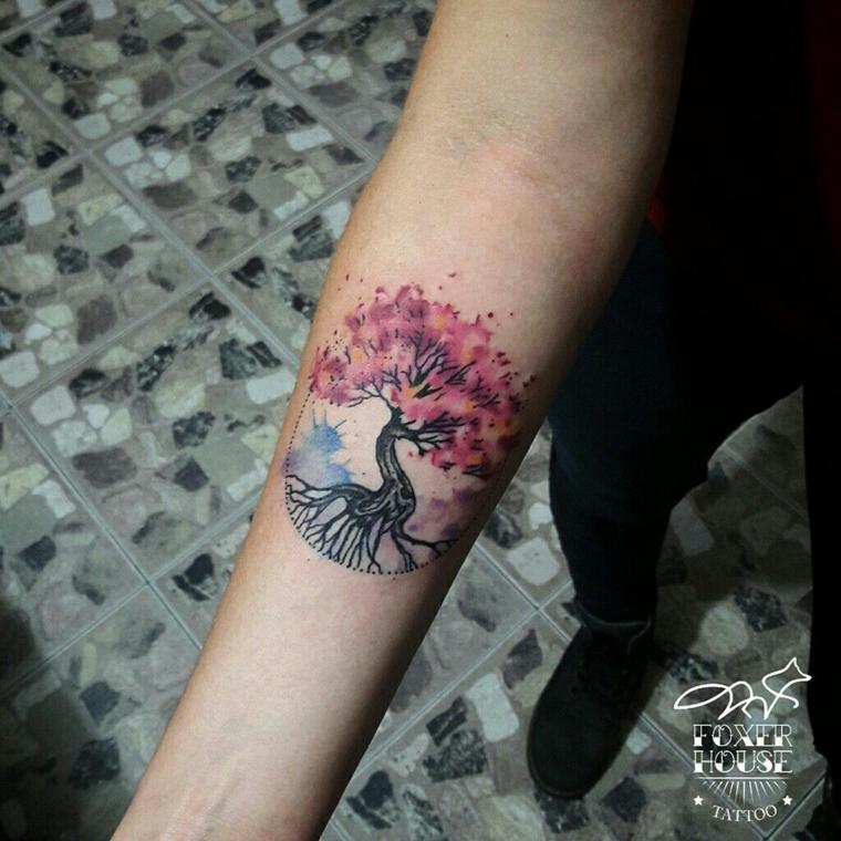 significato albero della vita disegno tattoo colorato avambraccio tatuaggio donna