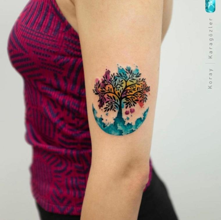 significato albero della vita tatuaggio donna braccio disegno colorato tattoo