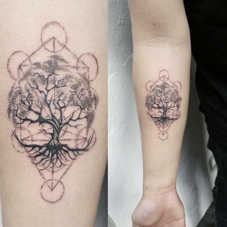 simbolo albero della vita tatuaggio avambraccio figure geometriche triangoli cerchi