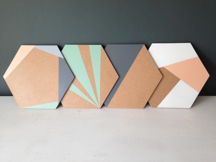 Sottobicchieri di legno dipinto, pezzi di legno forma rombo con dipinti