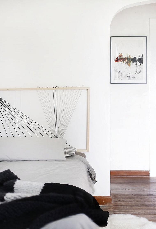 Come rivestire una testata del letto, camera da letto singola, testata con cornice di legno e corda