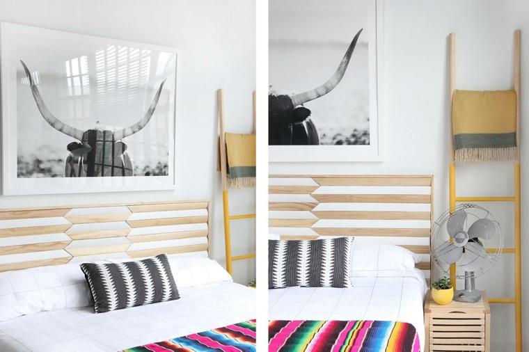 Come fare una testiera, camera da letto con mobili di legno, testata con pannello di legno dipinto