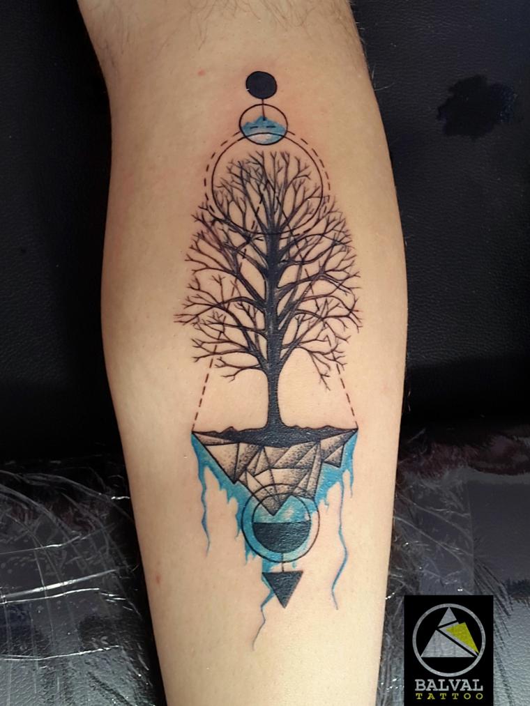tattoo albero della vita celtico avambraccio tatuaggio uomo disegno colorato triangoli