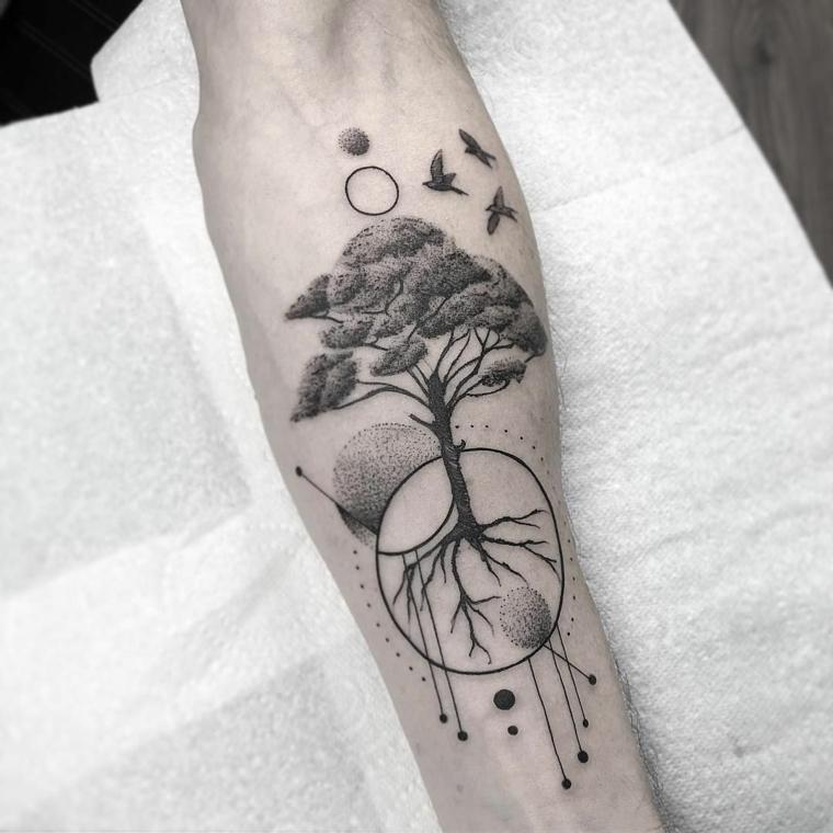 tattoo mandala motivi disegno cerchio rondini tatuaggio albero significato famiglia