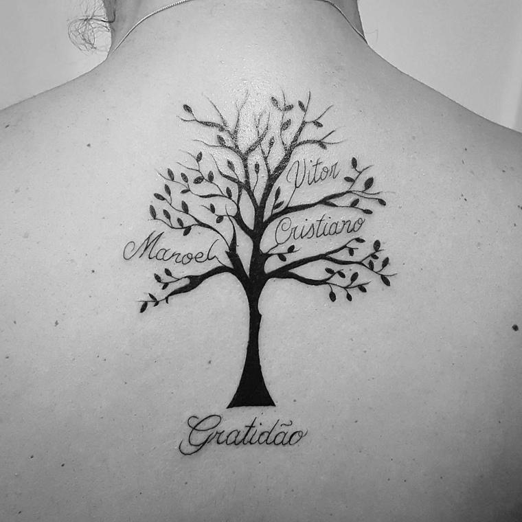 tattoo simbolo famiglia disegno albero rami nomi scritte tatuaggi schiena donna