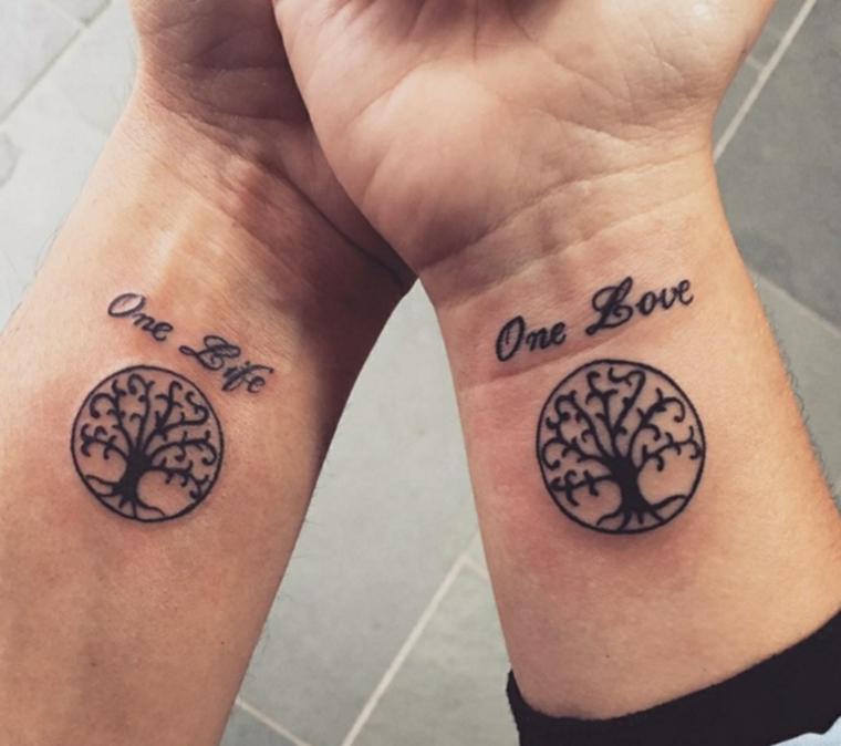 tatuaggio albero della vita tattoo polso mano cerchio scritta uomo donna
