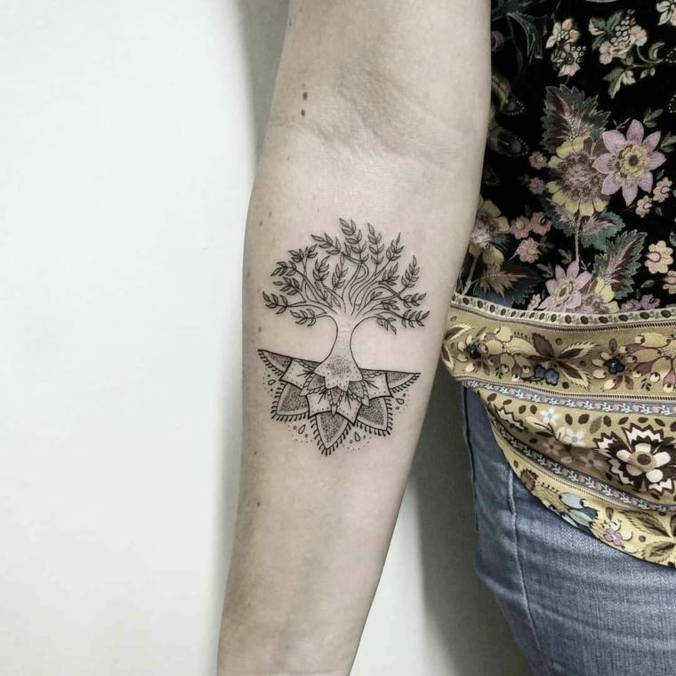 tatuaggio albero della vita uomo braccio motivi tattoo mandala avambraccio