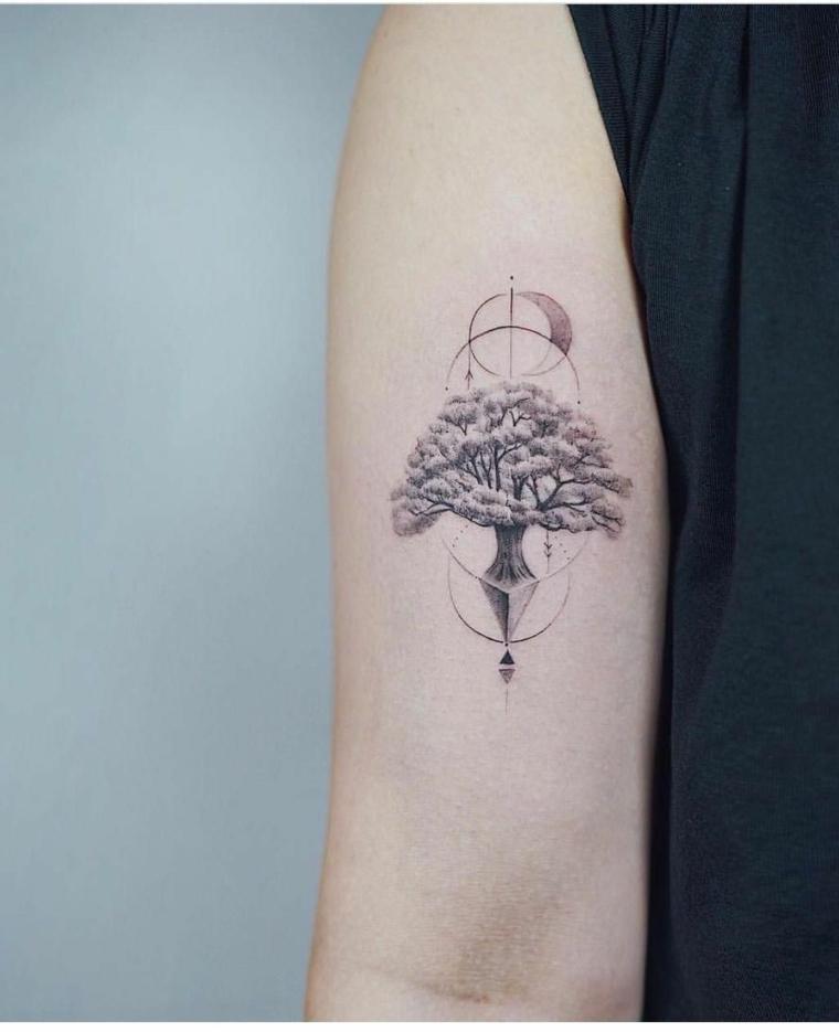 tatuaggio braccio donna albero della vita disegno stilizzato motivi geometrici