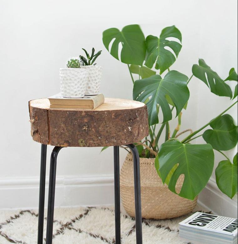 Tavolino con gambe di metallo e tronchetto di legno, vaso con piante grasse