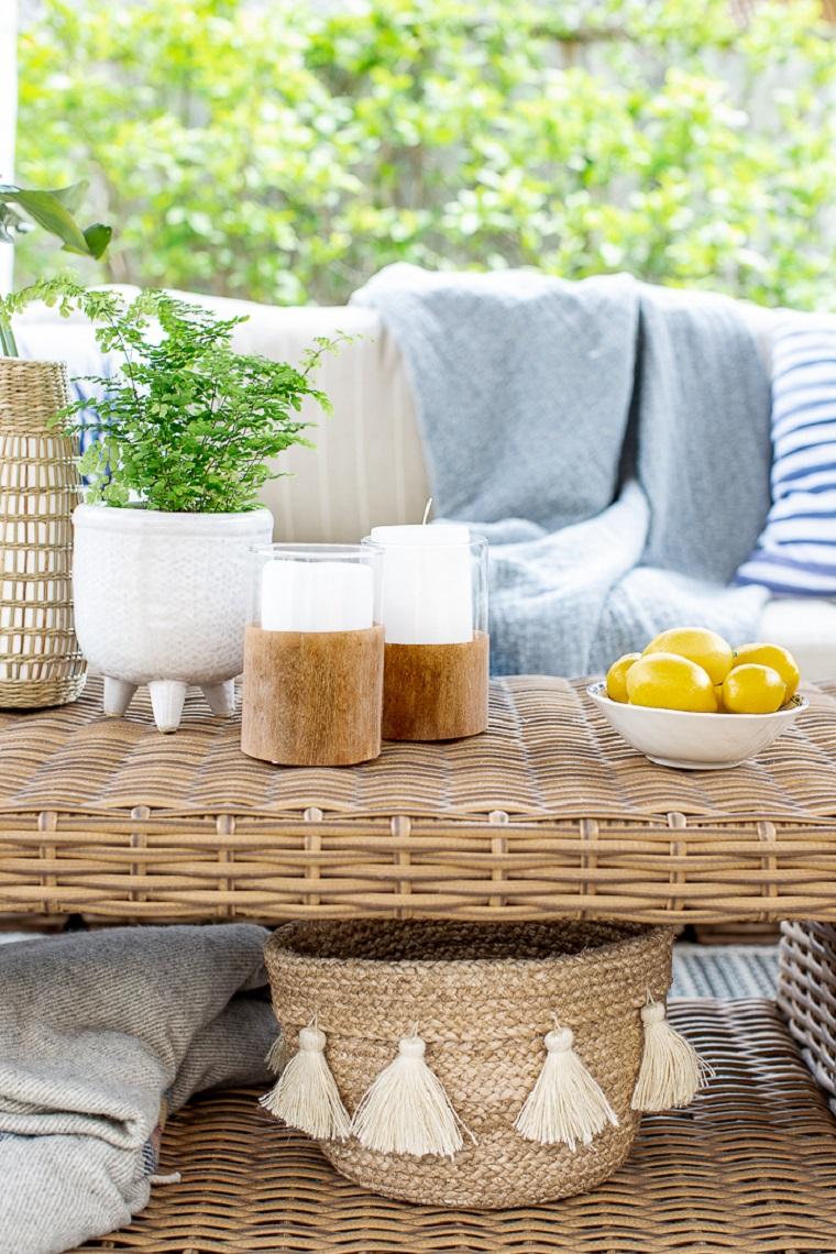 Tavolo da giardino in rattan, portacandele in legno, oggetti in legno fai da te