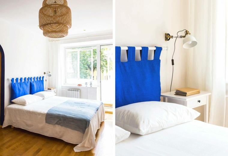 Testiera letto fai da te, tenda di colore blu come testata, camera da letto con pavimento in parquet