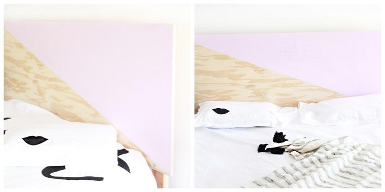 Spalliera letto fai da te, letto con testata da un pannello di legno dipinto a metà