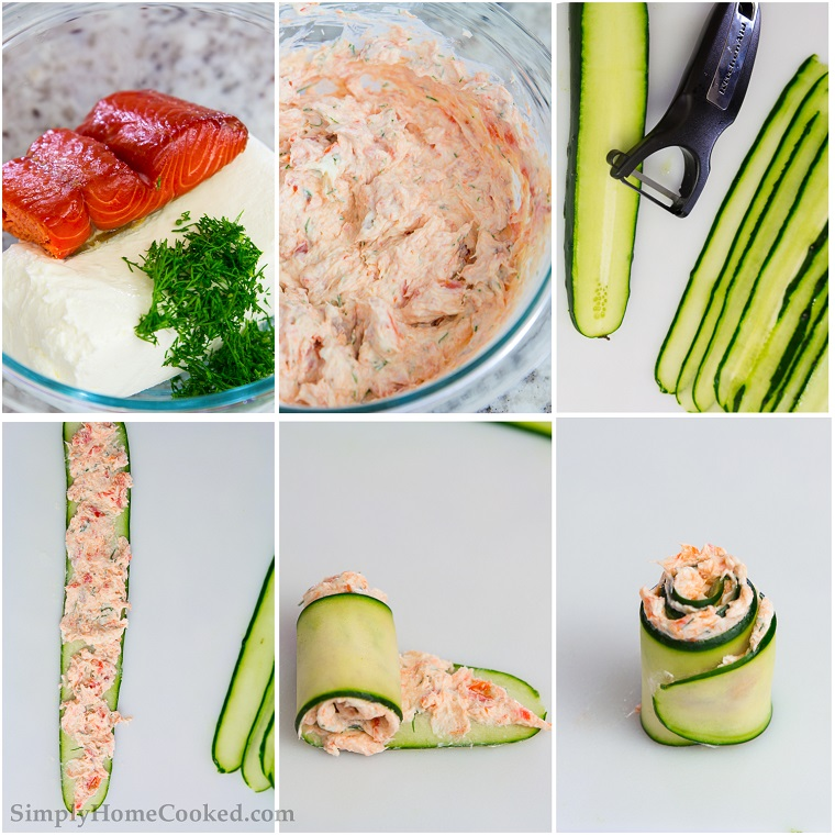 tutorial stuzzichini per aperitivo economici involtini cetriolo salmone crema spalmabile