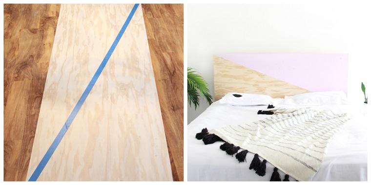 Come decorare la testata del letto, letto con testata da un pannello di legno dipinto