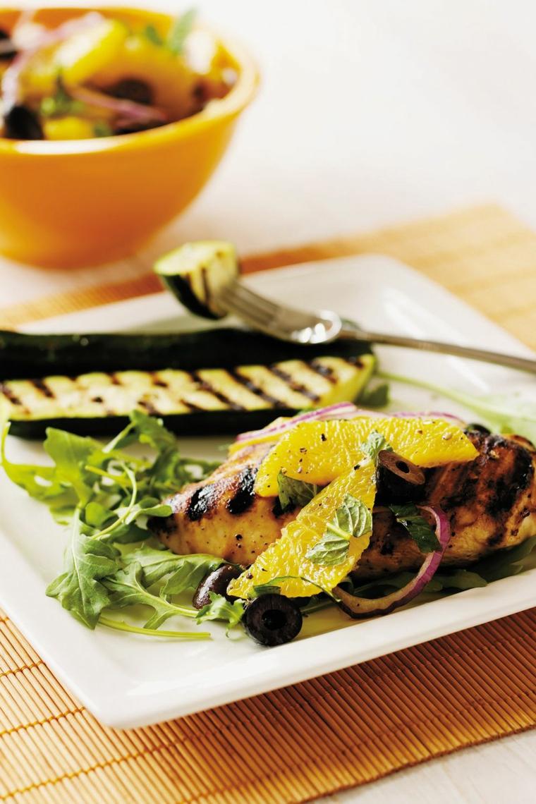 zucchine grigliate petto pollo limone contorno verdure griglia spinaci