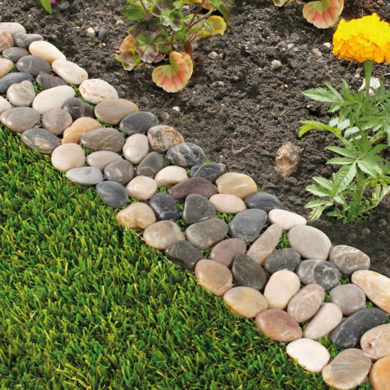 aiuole con sassi fai da te era verde piante fiori da giardino pietre giardinaggio
