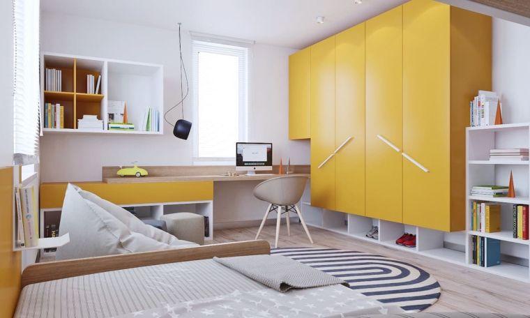 armadio ante gialle scrivania sedia letto bambina cameretta mensole libreria