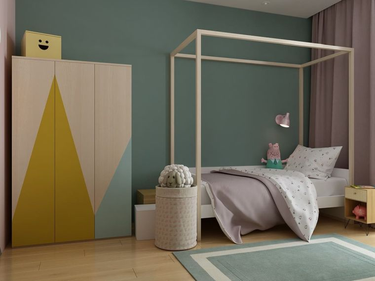 arredamento armadio pareti verdi letto tappeto mobili comodino
