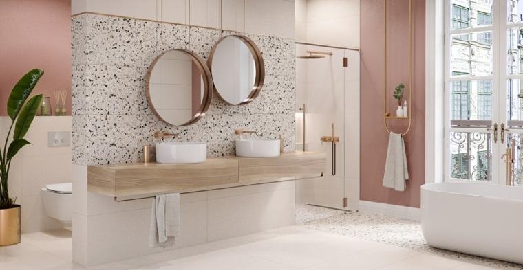 bagni moderni con doccia vasca mobile lavabo legno due specchio vaso pianta foglia verde