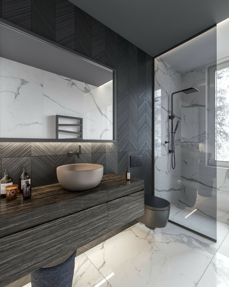 bagni moderni piccoli con doccia mobile lavabo legno specchio