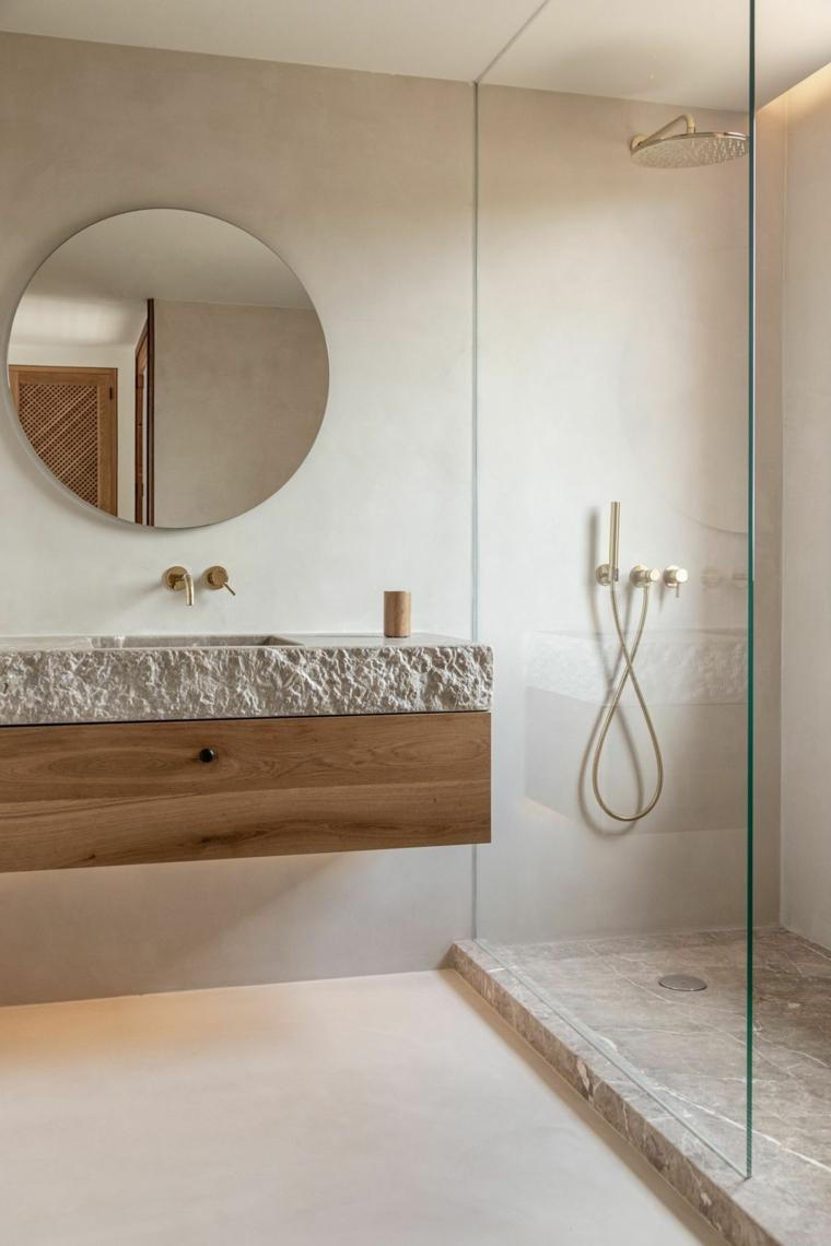 bagni moderni piccoli con doccia porta vetro mobile lavabo legno specchio rotondo