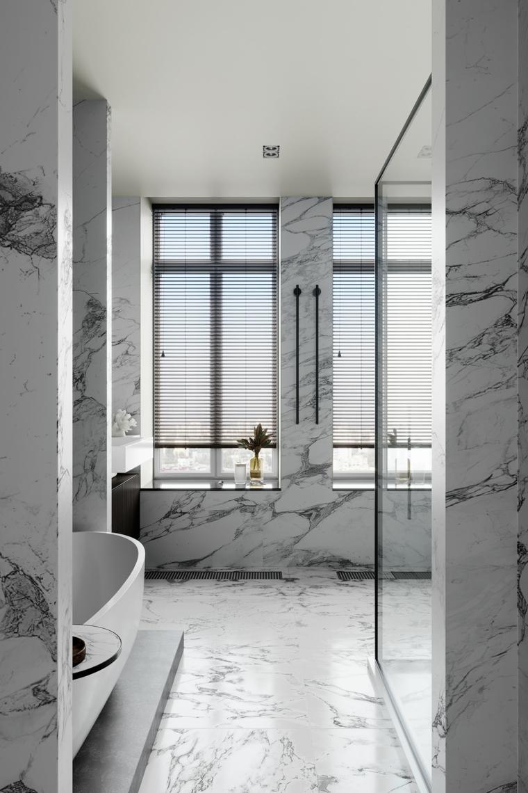 bagni moderni piccoli con doccia rivestimento pareti piastrelle marmo vasca