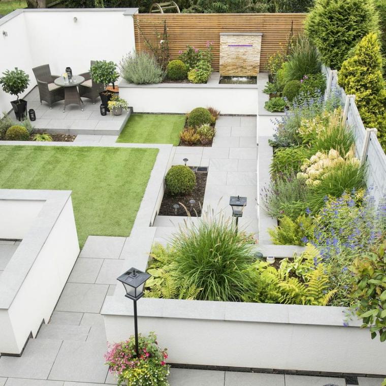 bordure per aiuole fai da te giardino piante fiori scale set mobili tavolo sedie barbecue