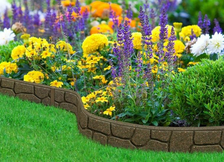 bordure per aiuole in pietra piante fiori giardino piante foglia verde petali