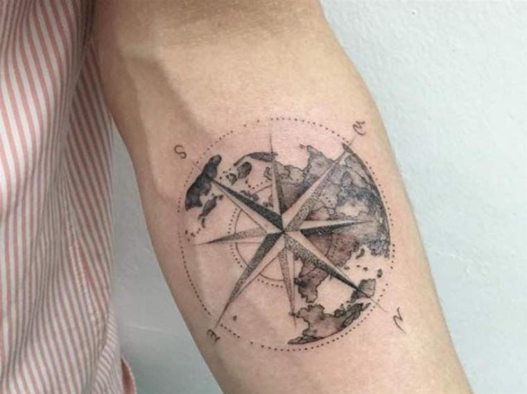 bussola rosa dei venti cerchio stella direzioni globo avambraccio uomo braccio