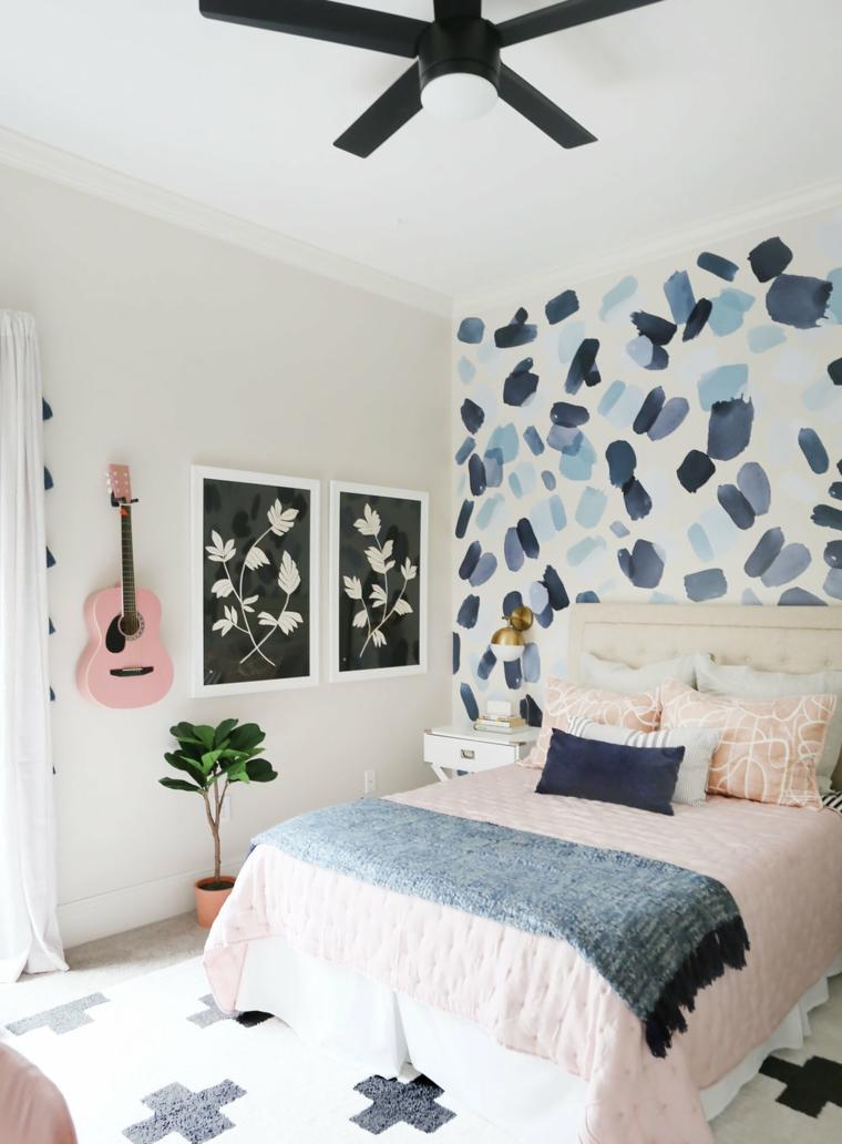 camera da letto dee originali parete carta da parati macchine quadro chitarra lampadario