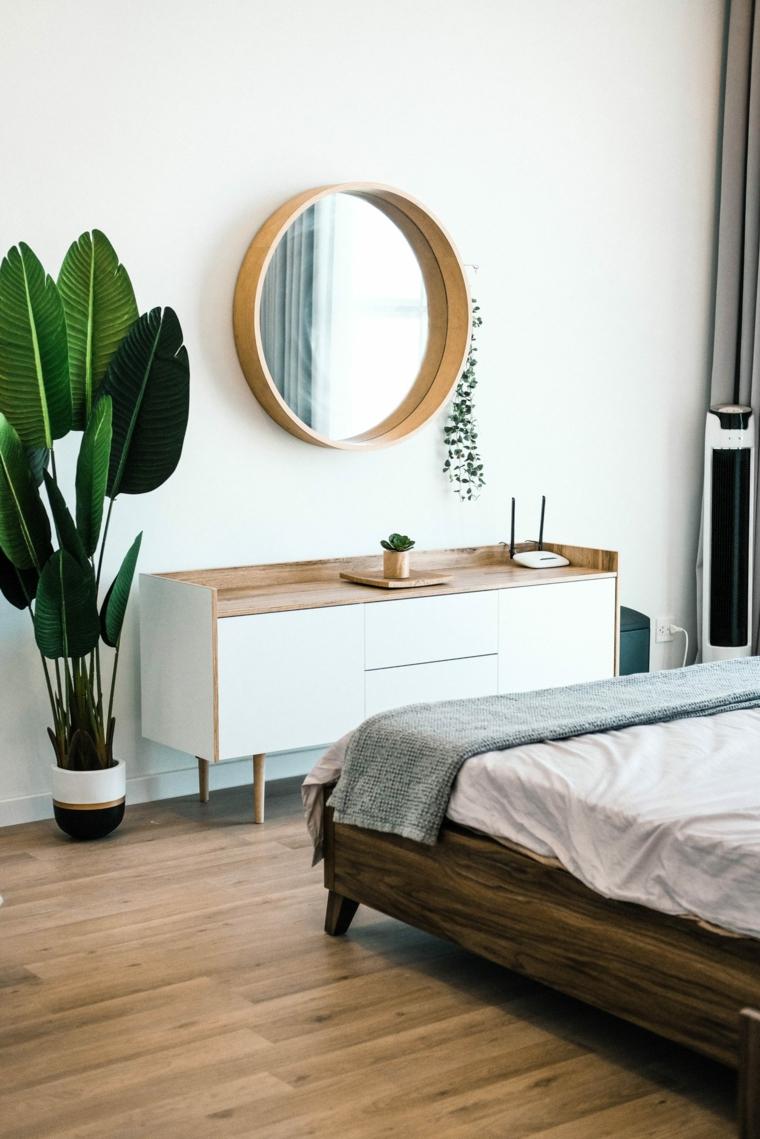 camera da letto specchio piante da appartamento depurative mobile
