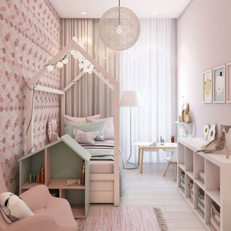 camera timblr ragazza letto mobili scaffali scrivania lampadario pareti carta da parati