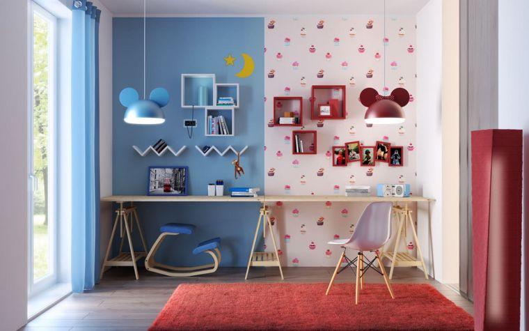 camere da letto moderne per ragazze scrivania sedia carta da parati tappeto