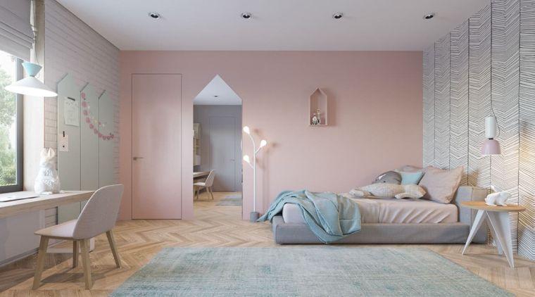 camere da letto per ragazze pareti carta da parati lampadario scrivania sedia faretti soffitto