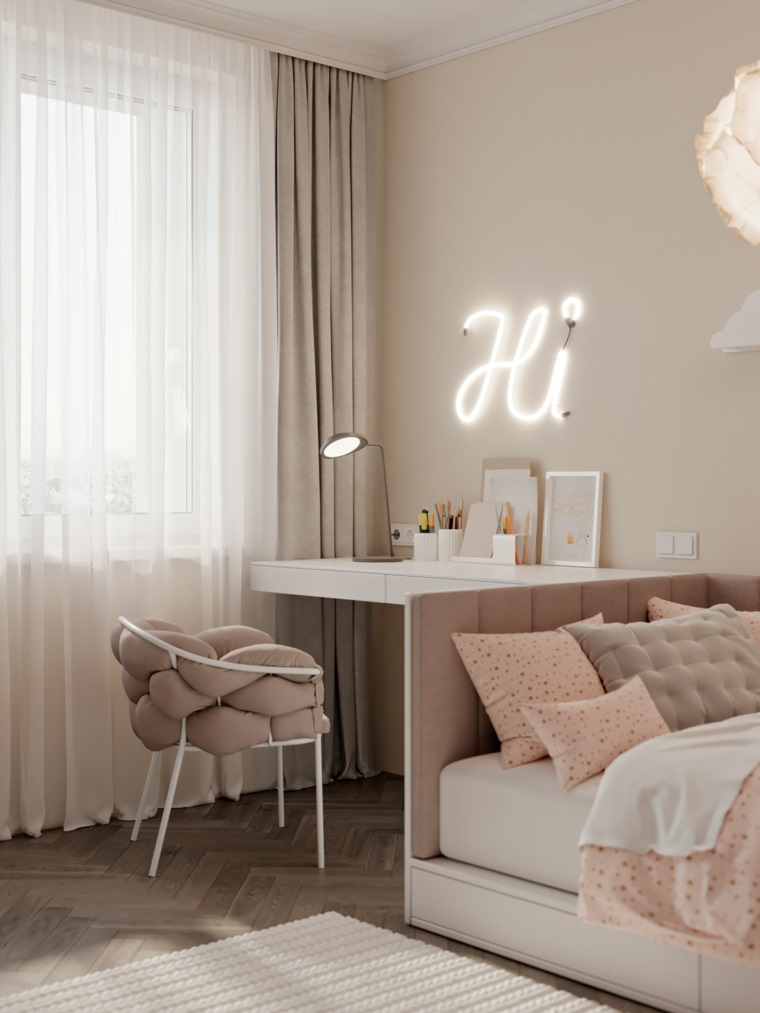 camere da letto per ragazze scrivania sedia scritta luminosa hi tende lampadario