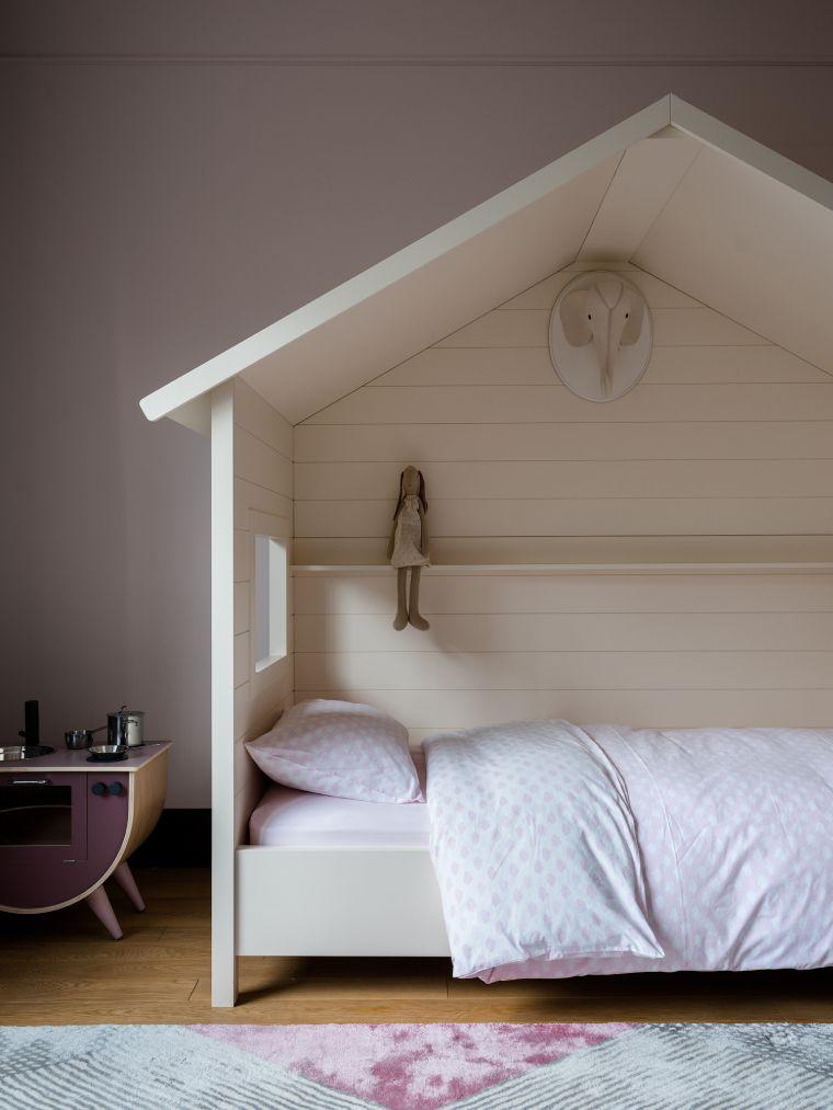 camere da letto per ragazze struttura legno casa cuscino tappeto pareti rosa