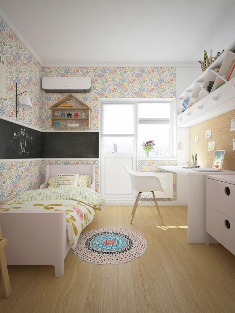 camere da letto tumblr pareti carta da parati pavimento parquet sedia scrivania mobili
