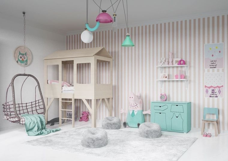 camere da letto tumblr ragazza bimba letto sedia dondolo mobili pareti carta da parati