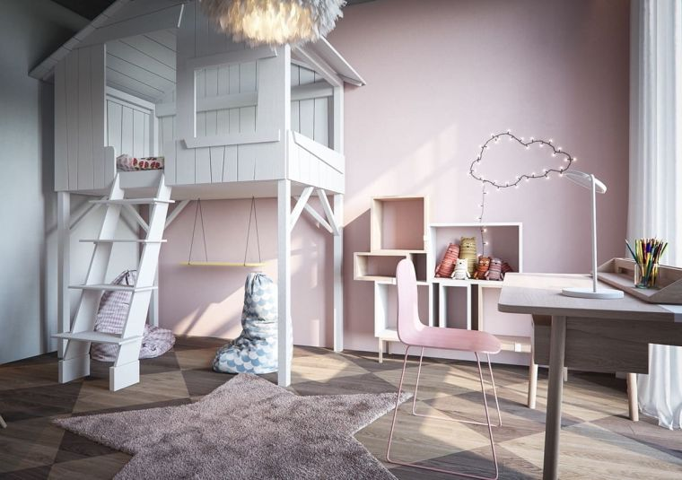 cameretta a ponte letto scale scrivania sedia pareti rosa tappeto stella