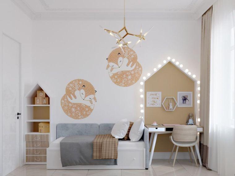 cameretta a ponte ragazza scrivania sedia letto decorazioni parete lampadario lampadine
