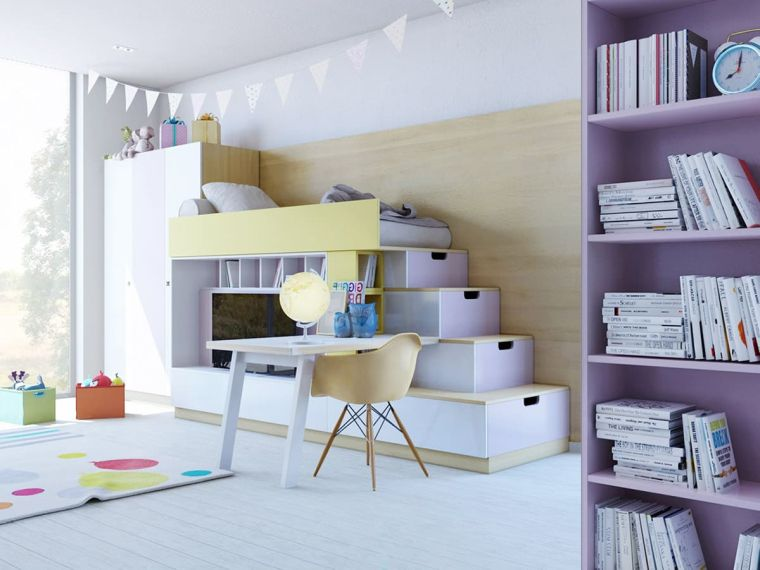 cameretta a ponte scale scaffali scrivania sedia libreria pareti pannello legno