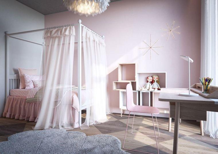 camerette per bambine letto velo scrivania sedia mobili tappeto pareti rosa