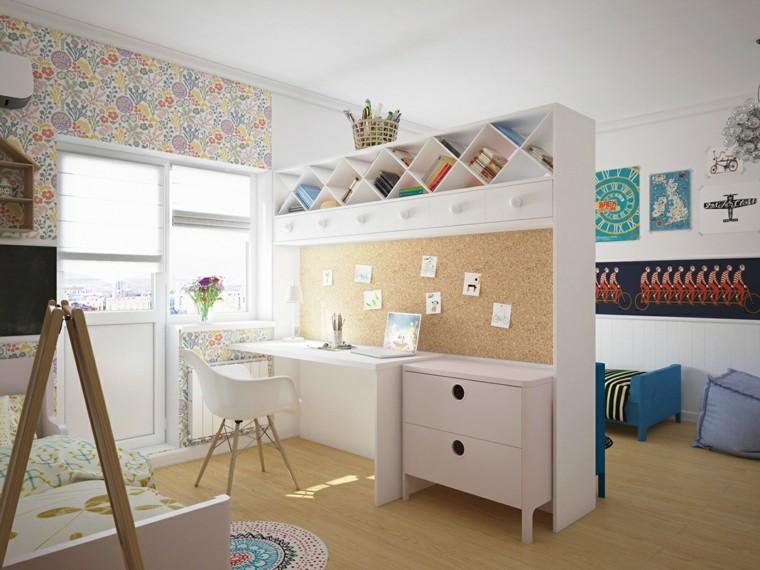 camerette per bambine scrivania sedia mobile letto finestra carta da parati