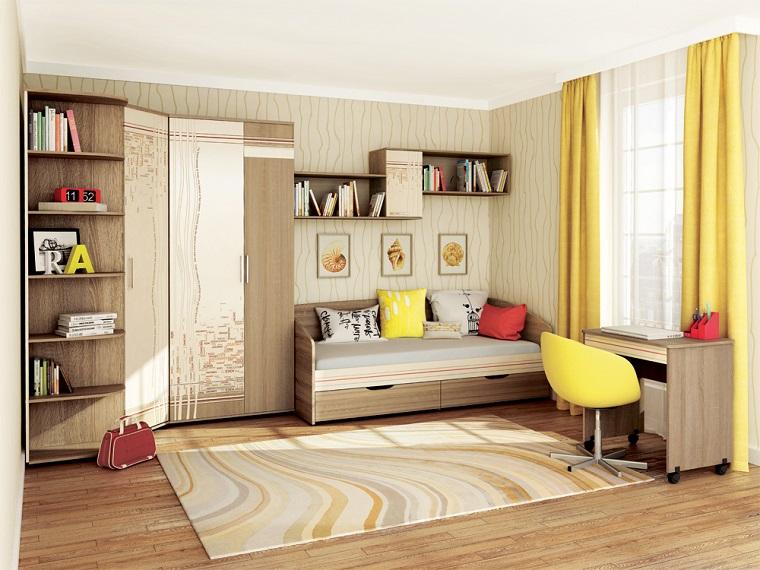 camerette per ragazze letto legno cassetti armadio mensole scrivania sedia tappeto finestra