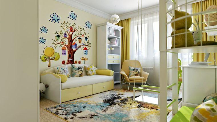 camerette per ragazze letto sticker adesivi parete tappeto sedia finestra tende