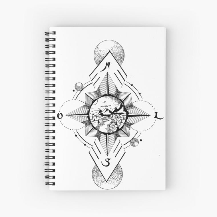che cos è la rosa dei venti disegno quaderno anelli bussola schizzo geometrico cerchi