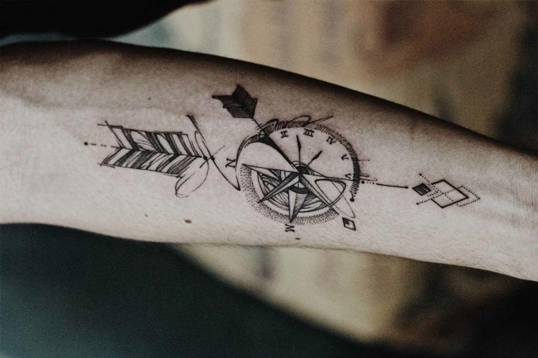 che cos è la rosa dei venti tatuaggio braccio mano uomo disegno orologio freccia