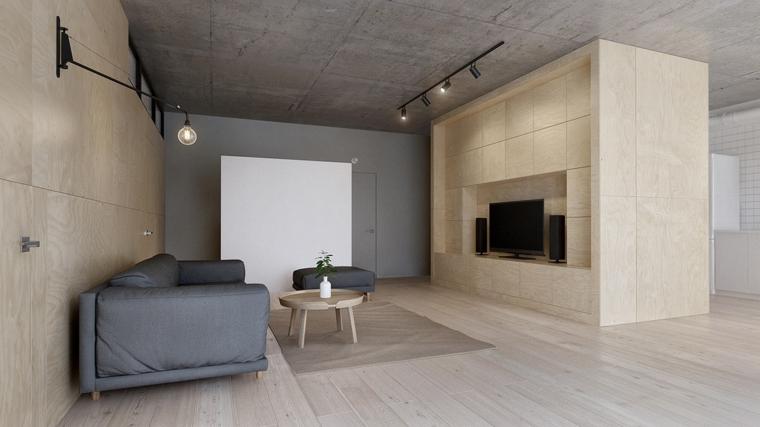 come arredare il salotto divano grigio tavolino lampadario faretti parete divisoria legno tv